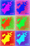 Massachusetts Art - Boston Pop Art Map 3 by Irina  March