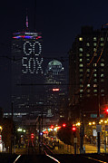 Red Sox Photo Posters - Boston Prudential Center with Message Go Sox Poster by Juergen Roth