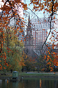 Architecture Greeting Cards Prints - Boston Public Garden in Autumn Print by Kathy Yates