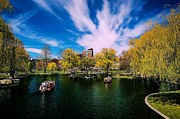 Boston Digital Art Metal Prints - Boston Public Garden Swanboats Metal Print by John Capitao
