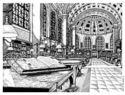 Boston Ma Drawings Framed Prints - Boston Public Library Bates Hall Framed Print by Conor Plunkett