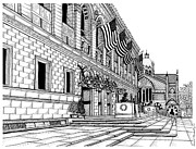 Ma.. Drawings Framed Prints - Boston Public Library Framed Print by Conor Plunkett