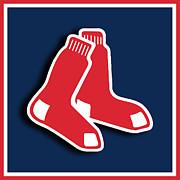 Baseball Bat Mixed Media Metal Prints - Boston Red Socks Metal Print by Tony Rubino