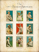 Boston Red Sox Baseball Cards - 1911 Print by David Perry Lawrence