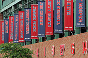 Baseball Photographs Framed Prints - Boston Red Sox Retired Numbers Along Fenway Park Framed Print by Juergen Roth
