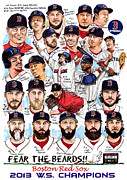 Shane Victorino Drawings Posters - Boston Red Sox WS Champions Poster by Dave Olsen