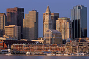 Custom House Tower Photos - Boston Sail Boats and Cityscape by Juergen Roth