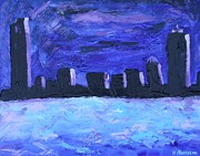 Boston Skyline Paintings - Boston Sky Line  by Natallia Maseyeva