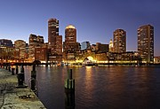 Twilight Photos - Boston Skyline and Fan Pier by Juergen Roth