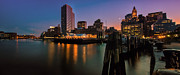 Boston Framed Prints - Boston Skyline at Twilight Framed Print by Thomas Schoeller