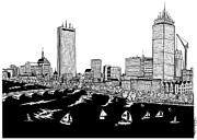 River Scenes Drawings Framed Prints - Boston Skyline Back Bay Framed Print by Conor Plunkett