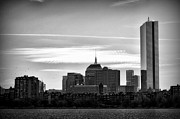 Boston Digital Art Metal Prints - Boston Skyline - Black and White Metal Print by Tricia Marchlik