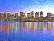 Skyscrapers. Painting Posters - Boston skyline by night Poster by Rachel Niedermayer
