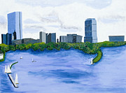 Boston Ma Paintings - Boston Skyline by Carmela Cattuti