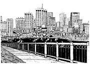 River Scenes Drawings Framed Prints - Boston Skyline Hatch Shell Framed Print by Conor Plunkett