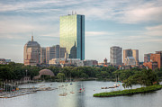 Blue Sailboat Metal Prints - Boston Skyline I Metal Print by Clarence Holmes