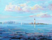 Lighthouse Paintings - Boston Skyline by Laura Lee Zanghetti