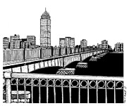 River Scenes Drawings Framed Prints - Boston Skyline Mass Ave Framed Print by Conor Plunkett