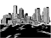 Boston Ma Drawings Prints - Boston Skyline Rowes Wharf Print by Conor Plunkett