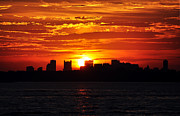 Hull Ma Prints - Boston Skyline Sunset Print by Joanne Brown