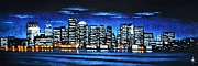 Black Velvet Painting Originals - Boston Skyline by Thomas Kolendra