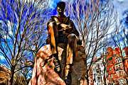 Boston Digital Art Metal Prints - Boston Statue Metal Print by Alice Gipson