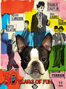 Boston Terrier Art Paintings - Boston Terrier Art - 30 Years of Fun Movie Poster by Sandra Sij