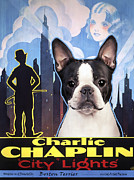 Boston Paintings - Boston Terrier Art - City Light Movie Poster by Sandra Sij