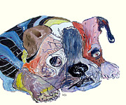 Featured Drawings Prints - Boston Terrier  Print by Brian Buckley