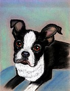 Boston Pastels Prints - Boston Terrier Dog Print by Olde Time  Mercantile