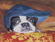 Terriers Pastels Framed Prints - Boston Terrier in a Ball Cap Framed Print by Pamela Humbargar
