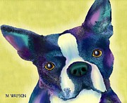 Puppy Digital Art - Boston Terrier by Marlene Watson