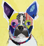 Dog Pet Portraits Mixed Media Posters - Boston Terrier  Poster by Michel  Keck