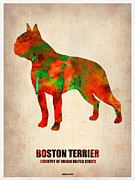 Terrier Digital Art Framed Prints - Boston Terrier Poster Framed Print by Irina  March