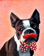 Wall Decor Greeting Cards Prints - Boston Terrier Small Red Moustache Print by Kelly McLaughlan