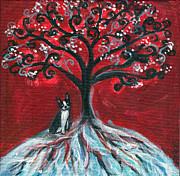 Boston Paintings - Boston Terrier tree love by Angie  Ketelhut