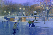 Public Holiday Paintings - Boston Twilight Skaters by Candace Lovely