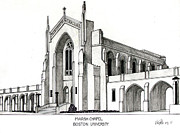 College Buildings Drawings Mixed Media Originals - Boston University Marsh Chapel by Frederic Kohli
