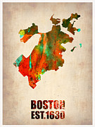 Modern Poster Metal Prints - Boston Watercolor Map  Metal Print by Irina  March