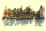 Boston Ma Mixed Media Prints - Bostons Skyline Print by Diane Strain