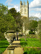 University Photos - Botanic Garden Path and Magdalen Church and College Tower Oxford England by Robert Ford
