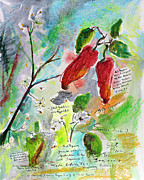 Gourmet Art Paintings - Botanical Art Hot Peppers Blossoms and Bees  by Ginette Callaway