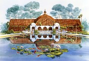 Balboa Posters - Botanical Building And Lily Pond Balboa Park Poster by John YATO