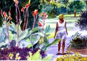 Red White And Blue Mixed Media - Botanical Stroll by Barbara Jung