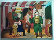 Barrel Paintings - Botero Circus by Vickie Meza