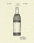 Glass Bottle Drawings Framed Prints - Bottle 1937 Patent Art Framed Print by Prior Art Design