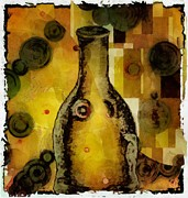 Klimt Digital Art Prints - Bottle a la Klimt Print by Gun Legler