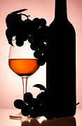 Wine-glass Ceramics Posters - Bottle and Wine glass Poster by Sirapol Siricharattakul