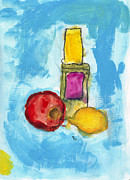 Lemon Art Prints - Bottle Apple and Lemon Print by Jade Nall