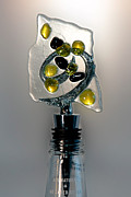 Olive  Glass Art - Bottle Stopper 04 by Crush Creations